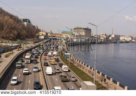 Kyiv, Ukraine- April 1, 2021: Automobile Collapse At The Highway Along Dnipro River. Traffic Jam Wit