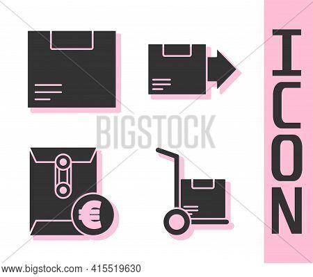 Set Hand Truck And Boxes, Carton Cardboard Box, Envelope With Euro Symbol And Carton Cardboard Box I