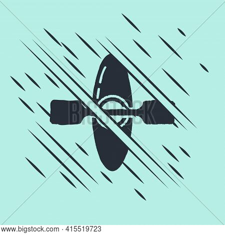 Black Kayak And Paddle Icon Isolated On Green Background. Kayak And Canoe For Fishing And Tourism. O