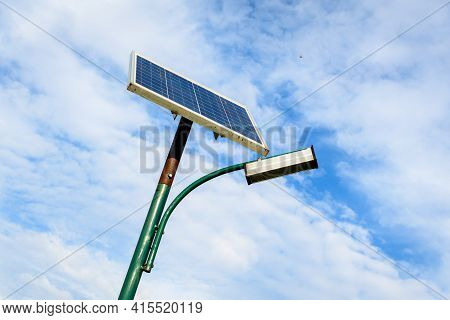 Lighting Pole Activated With An Attached Blue Solar Panel In Parcul Izvor (izvor Park) In Bucharest,