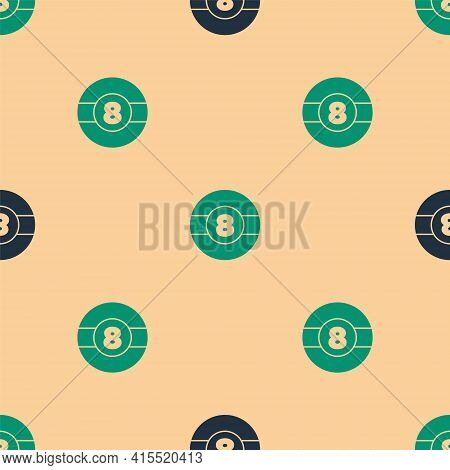 Green And Black Billiard Pool Snooker Ball With Number 8 Icon Isolated Seamless Pattern On Beige Bac