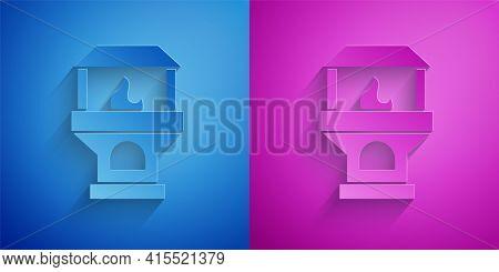 Gold And Silver Brick Stove Icon Isolated On Black Background. Brick Fireplace, Masonry Stove, Stone