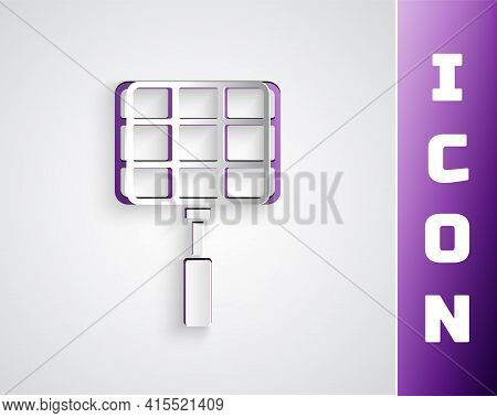 Paper Cut Barbecue Steel Grid Icon Isolated On Black On Purple Background. Top View Of Bbq Grill. Wi