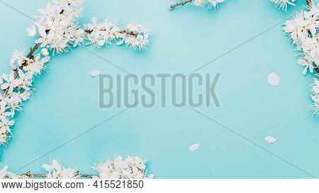 Spring Background Table. May Flowers And April Floral Nature On Blue. For Banner, Branches Of Blosso