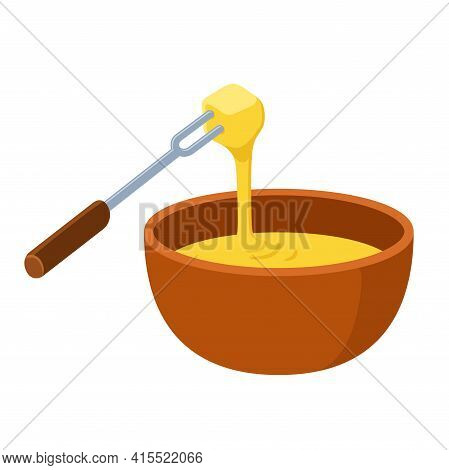 Cheese Fondue, Traditional Swiss Hot Pot, Dipping Food In Melted Cheese. Cartoon Vector Clip Art Ill