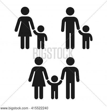 Adult And Child Holding Hand Icon, Family And Single Parent. Simple People Figure Icons, Vector Symb