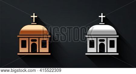 Gold And Silver Santorini Building Icon Isolated On Black Background. Traditional Greek White Houses