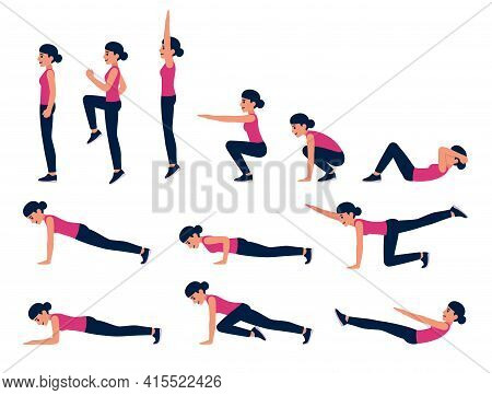 Cartoon Woman Bodyweight Exercise Illustration Set. Fitness Workout For Abs, Cardio, Hiit. Isolated