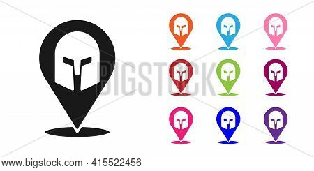 Black Greek Helmet Icon Isolated On White Background. Antiques Helmet For Head Protection Soldiers W
