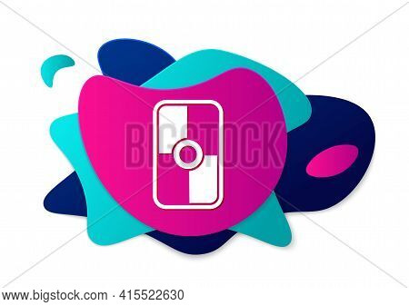 Color Greek Shield With Greek Ornament Icon Isolated On White Background. Abstract Banner With Liqui