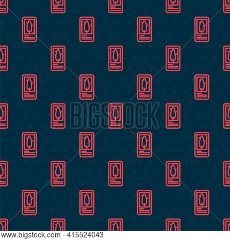 Red Line Tarot Cards Icon Isolated Seamless Pattern On Black Background. Magic Occult Set Of Tarot C