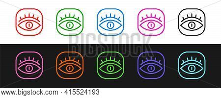Set Line Masons Symbol All-seeing Eye Of God Icon Isolated On Black And White Background. The Eye Of