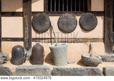 Korea Traditional Village. Hanok Is Traditional House Of Korea.
