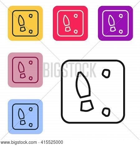 Black Line Human Footprints Shoes Icon Isolated On White Background. Shoes Sole. Set Icons In Color