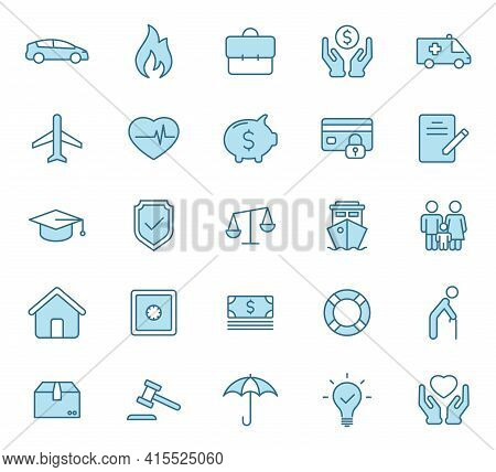 Insurance Flat Vector Icons In Two Colors Isolated On White Background. Insurance Blue Icon Set For