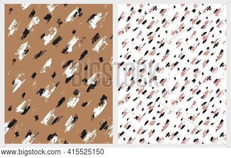 Simple Abstract Wild Animal Skin Print. Black, White And Brown Geometric Seamless Vector Patterns Id