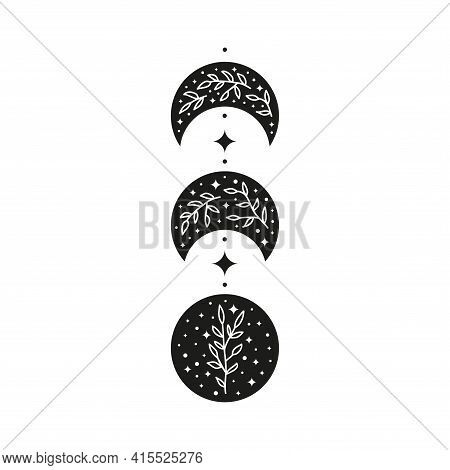 Hand Drawn Black Celestial Floral Moon Phases.