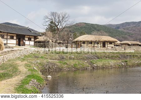 Korean Traditional Thatched House. Traditional Farm Village
