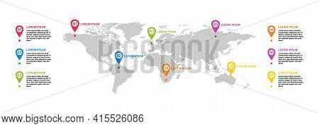 Modern Infographic Tempalte With World Map Icon. Point Location For Website .