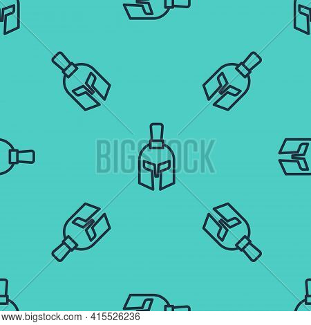 Black Line Greek Helmet Icon Isolated Seamless Pattern On Green Background. Antiques Helmet For Head