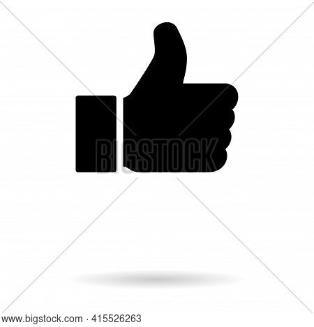 Thumb Up With Shadow Icon, Like Finger Vector Illustration Sign, Business Social Web Button .