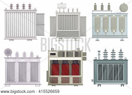Transformer Electric Vector Installation On White Background . Isolated Cartoon Set Icon Energy Subs