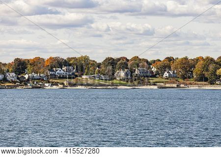 View To Coast Of New London To Shelter Island Hights On A Sunny Day With Old Traditional Wooden Hous
