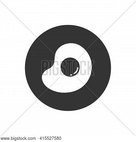 Fried Egg Black Icon On White Background