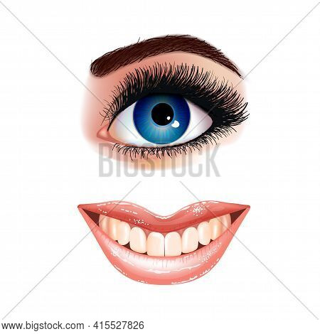 Set Of Beautiful Female Blue Eye With Extended Eyelashes And Shining Mouth With Glossy Lips. Smling