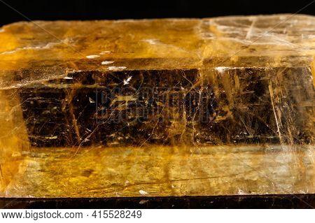 Macro Stone Mineral Ulexite On A Black Background