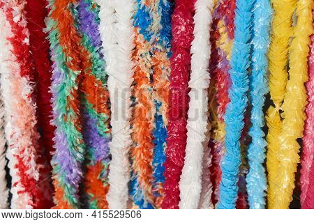 Festival Background. Close-up Colorful Striped Fabric Texture As Background. Colored Stripes On A Wa