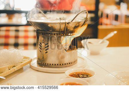 Thai Hot Pot Recipe Thai Called Jim-jum. Thai Traditional Spicy Shabu Shabu, Dipping Meat In Boiled