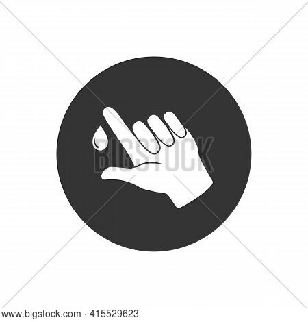 Finger With Blood Drop White Icon Illustration. Perfect Blood Test Design For Healthcare Collection.