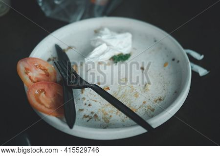 Food Scraps On The Plate At Restaurant
