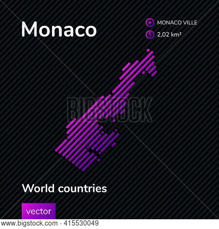 Vector Creative Digital Neon Flat Line Art Abstract Simple Map Of Monaco With Violet, Purple, Pink S