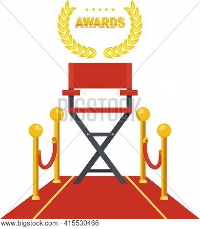 Film Directors Chair On Red Carpet. Producer, Director And Screenwriter.