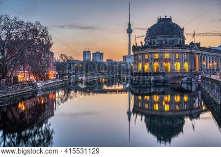 The Bode Museum, The Television Tower And The River Spree In Berlin Before Sunrise
