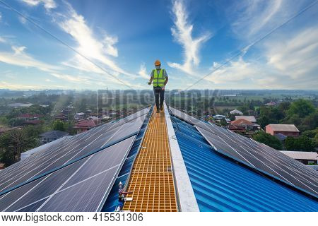 Solar Cells, Technician Working At Solar Power Station On Roof, Solar Energy,