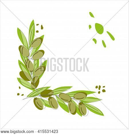Olive Branches With Olives, Abstract Background Mediterranean Landscape. Vector Illustration In Tren