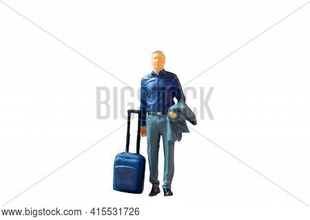 Miniature People Businessman With Luggage On White Background With Clipping Path