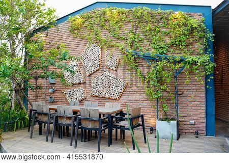 Home Decoration Designs ,gardening Exterior For Outdoor Dining Or Party Terrace,wine Plant Hanging O