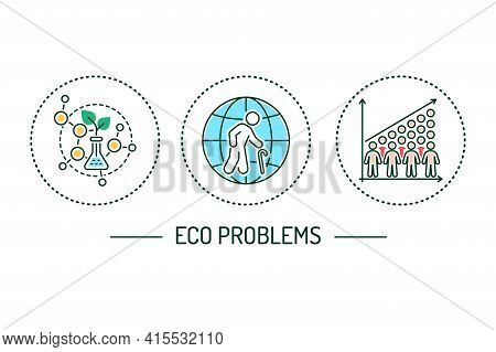 Eco Problems Color Line Icons Conceptt. Environmental Issues.