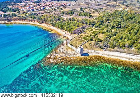 Island Of Vir Waterfront And Fortress Ruins Aerial View, Dalmatia Region Of Croatia