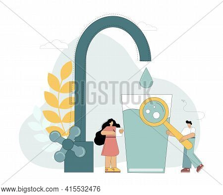 Clean Drinking Water. Small Characters With A Glass Of Clean Water. Conservation Of The Fluid Source