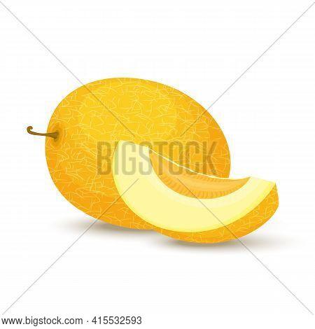 Melon.ripe Fresh Honeydew Melon. Whole Melon And Slices. Flat Design. Vector Illustration Isolated O