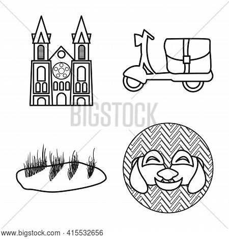 Vector Design Of Vietnam And Traditional Symbol. Set Of Vietnam And Culture Vector Icon For Stock.