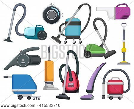 Vacuum Cleaner Vector Cartoon Icon Set . Collection Vector Illustration Device Vac On White Backgrou