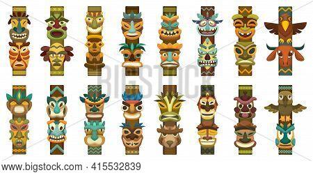 Totem Vector Cartoon Set Icon. Vector Illustration Set Tribal Mask. Isolated Cartoon Icon Traditiona