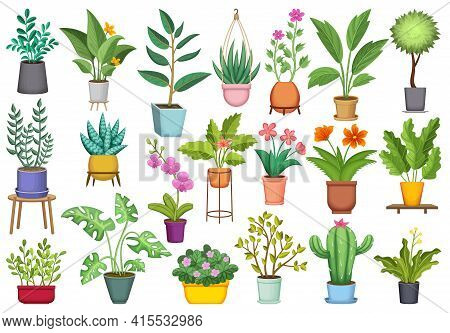 Flowerpot Vector Cartoon Icon Set . Collection Vector Illustration Pot Of Plant On White Background.