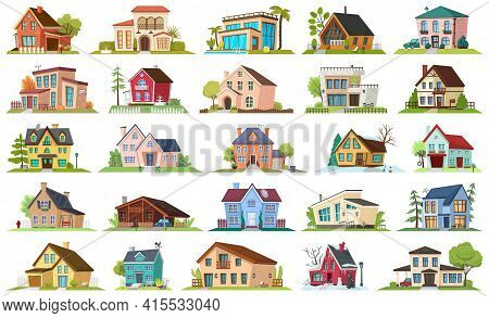 House Apartment Vector Cartoon Icon Set . Vector Illustration Building On White Background. Isolated